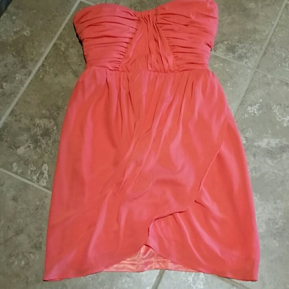 bebe Dresses & Skirts - Short coral strapless be be xs dress chiffon